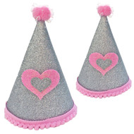 Deluxe Birthday Party Hat  | Silver & Pink
