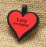 Silent Dog ID Tag | Heart Red