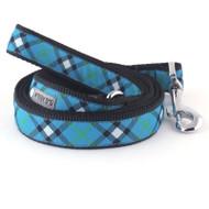 Bias Plaid Blue Dog Leash