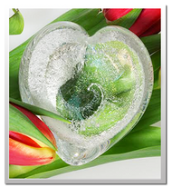 Memorialized Blown Glass Art Ashes   Crystal Heart