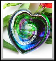 Memorialized Blown Glass Art Ashes   Green/Blue/Purple Heart