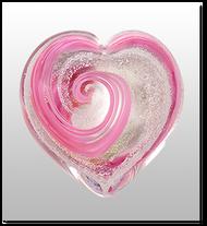 Memorial Blown Glass Art Ashes    Pink Heart