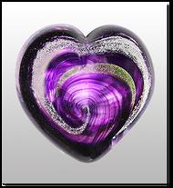 Memorialized Blown Glass Art Ashes   Purple Heart