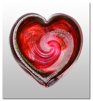 Memorialized Blown Glass Art Ashes   Red Heart