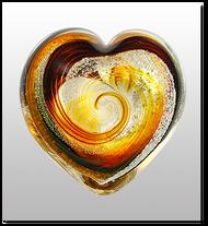 Memorialized Blown Glass Art Ashes   Tiger Eye Heart