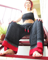 Ikat Wrap Yoga Pants - Black Big Red Border