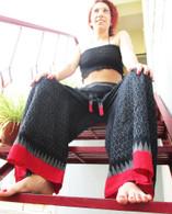 Ikat Wrap Yoga Pants - Black Big Red Border