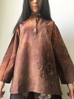 Exquisite Hand Dyed and Painted Kurta - AUM BROWN-  Womens -Small