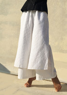 Layered Pant- White Flower Embroidery - M/L