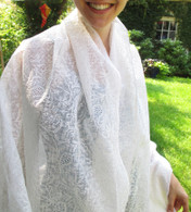Scarf -Full Length with Embroidery in White