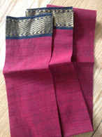 Headband Fabric with Sari Border - Burgundy Hand Loom Cotton - Free with $40 Order