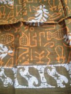 Bhatik Long Scarf100% Cotton - Fair Trade - Green Gold Leaves