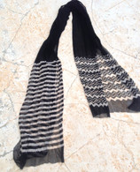 ALL NEW Black and White Chiffon Scarf - Stripes