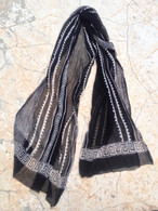 ALL NEW Black and White Chiffon Scarf - Lines