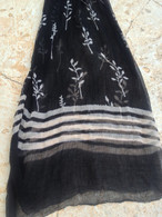 ALL NEW Black and White Chiffon Scarf - Flowers