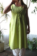 Ladies Hand Loom Long  Tunic with Pull-String - Moss Green - Size M ONLY