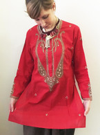 Shirts Red Hand Embroidered Kurta - M