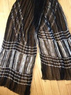 ALL NEW Black and White Chiffon Scarf - Lines Anew