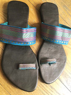 Gorgeous Indian Sandals in Turquoise  Gold - Size 7 or 7.5 - Free with $50  purchase