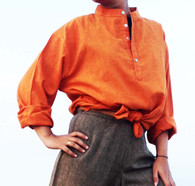 ALL NEW 100% Cotton Kurta Shirts in Two-Tone PLAIN ORANGE (UNISEX) - M