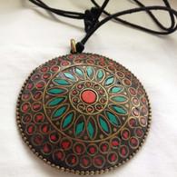 Tibetan Refugee Hand Made Jewlery - Round Pendant