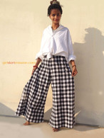 All New Bell Bottoms - Palazzo Wide Leg Pant - Checks Black and White