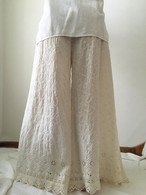 All New Bell Bottoms - Palazzo Wide Leg Pant - Cream Ebroidery -M/L