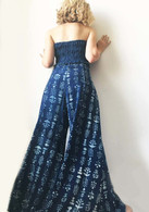 All New Bell Bottoms - Palazzo Wide Leg Pant - Indigo Flower