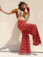 All New Bell Bottoms - Palazzo Wide Leg Pant - Red IKAT Psychedelic