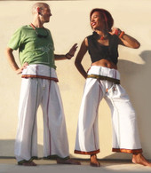 ALL NEW Unisex Indian Wrap Yoga Pants - White Fancy Border