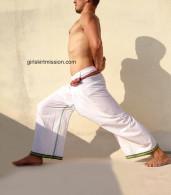 ALL NEW Unisex Indian Wrap Yoga Pants - White Simple Border