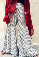 All New Bell Bottoms - Palazzo Wide Leg Pant - IKAT Off White & Black