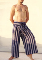 ALL NEW Unisex Solid Yoga Pant - Stripes Khadi BLUE - Free Size