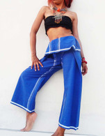 ALL NEW UNISEX Indian Wrap Yoga Pants - Blue White  size L & XL Only
