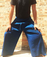 ALL NEW UNISEX Solid Yoga Pant in Hand Loom Cotton - Two-Tone Blue