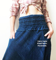 ALL NEW (NARROW CUT)Harem Pant in Hand Made Indigo Blue Reversible Fabric  - PRE-ORDER