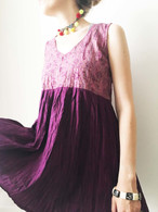 Crushed Cotton Dress - Purple S/M