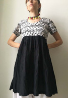 Crushed Cotton Dress - Black White S/M