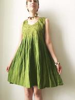 Crushed Cotton Dress - Green S/M