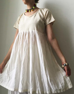 Crushed Cotton Dress - Cream S/M