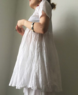Crushed Cotton Dress - White Ribbed Cotton S/M