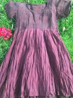 Crushed Cotton Dress - Burgundy S/M