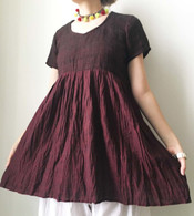 Crushed Cotton Dress - Burgundy S/M