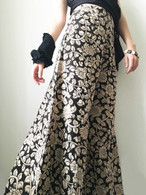 All New Bell Bottoms - Palazzo Wide Leg Pant - BLACK FLORAL PRINT S/M