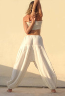 New Balloon Pants in Hand Loom Cotton - Cool Light White M/L