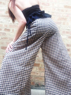 ALL NEW BELL BOTTOMS - PALAZZO WIDE LEG PANT - CHECKS BEIGE & BLACK