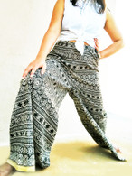 Wide Bell Bottoms - Palazzo Pant - Gold Border