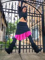 Short Ruffle Skirt in Black Pink
