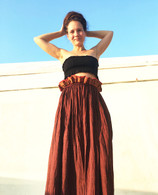 Dark Burgundy Fully Crushed Cotton Skirt - S/M