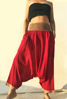 ALL NEW Harem Pant Red with Jute Border - One Size XS/S/M